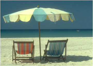 Beach chairs & umbrella